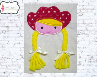 Cowgirl applique embroidery design. Cowgirl applique design, 3 sizes ITH. Fun cowgirl with braids made ITH. Great embroidery project.