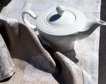 DAMASK- Linen Flax Table Runner or Duo Placemat- Revesible