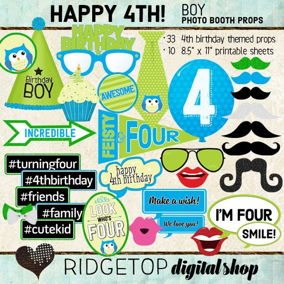 Photo Booth Props HAPPY 4TH BIRTHDAY Boy Printable Sheets