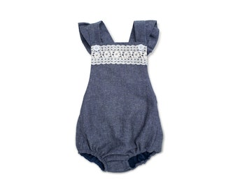 Toddler Denim Romper * Baby Girl Sunsuit * Sleeveless Bubble Romper Chambray Ruffle Romper Lace OnePiece Girls Chambray 1st Birthday Outfit