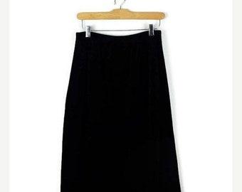 ON SALE Vintage Black Velour Long Skirt  from 1980's/Minimal/Minimalist*