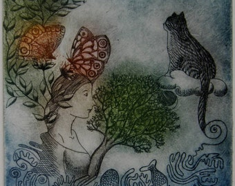 Flow of Thoughts, original etching, limited edition