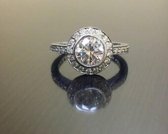 14K White Gold Halo Diamond Engagement Ring - Art Deco Diamond Wedding Ring - 14K Gold Diamond Ring - Diamond Art Deco Ring - 14K Halo Ring
