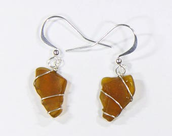 Brown sea-glass earrings wrapped in sterling silver wire