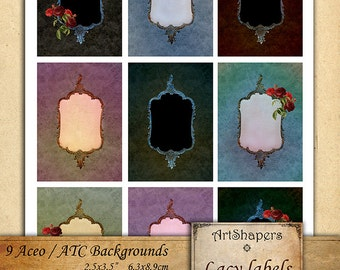 LACY LABELS- Aceo backgrounds, jewelry holders,instant download paper,digital papers,tags, digital collage sheet DCS101
