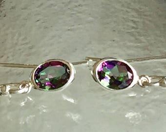 Rainbow Mystic Topaz 7x5mm 1.60ctw Sterling Silver Dangle Earrings
