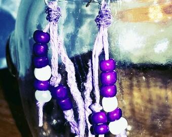 Purple Bead Purple Hemp Earrings