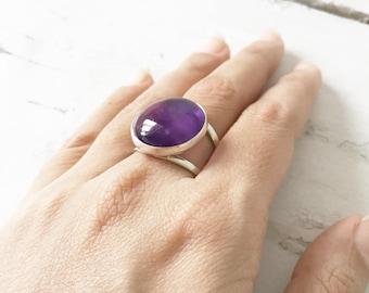 Amethyst ring, 925 Sterling silver, Amethyst adjustable ring, Gemstone ring, Boho ring, Purple Amethyst ring, Natural Amethyst, Unique Gift