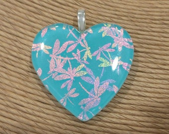 Dichroic Heart Pendant, Dichroic Dragonflies on Aqua Blue Fused Glass Pendant, Heart Jewelry - Flight of the Dragonflies - 4633 -4