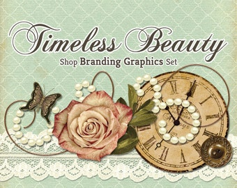 Shabby Chic Vintage Shop Branding Banners, Avatar Icons, Business Card, Logo Label + More - 12 Premade Graphics Files - TIMELESS BEAUTY