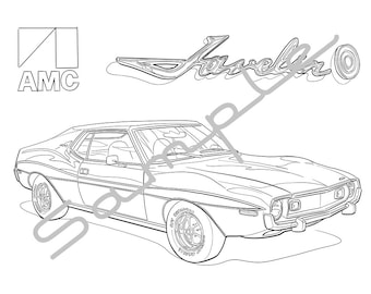 1971 AMC JAVELIN AMX, Adult Coloring Page, Printable Coloring Page, Coloring Page for Adults, Digital Instant Download 1 page