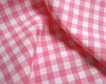 Fabric pure cotton gingham pink white 1 cm x 1 cm