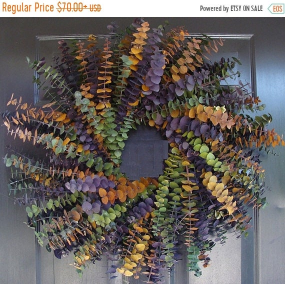SUMMER WREATH SALE Year Round Eucalyptus Wreath- Purple, Amber and Sage- Dried Floral Wreath- Eucalyptus Fragrance- Natural Eucalyptus Oil