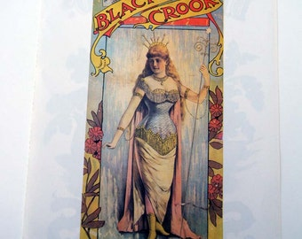 1880s The Black Crook Play Stalacta Vintage Advertising Poster Size Book Plate / Seeds Poster Flipside