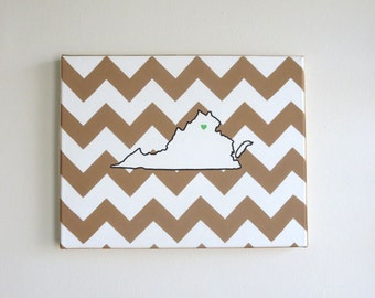 hand painted landscape Virginia state outline with chevron background 11X14 canvas, customizable