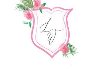 Watercolor Wedding Crest, Custom Wedding Crest, Pink and Green, Wedding Crest Invitations, Simple Invitation Crest