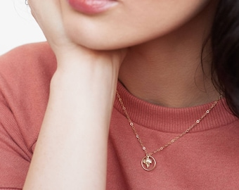 Gold Leaf Circle necklace - delicate layering jewelry - gold filled