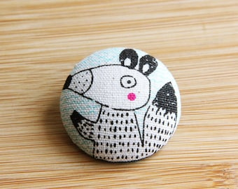 Fabric Button Covered Hair Tie  / mouse pattern- Hair Accessories / Ties and Elastics / Button Ponytail Holders