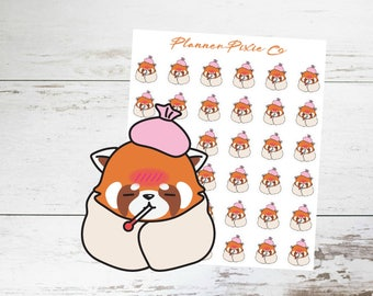 Red Panda Planner Stickers // Sick // Flu // 003