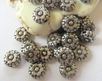 30 Silver metal beads spacers  jewelry  making supplies 7mm x 3mm lead free nickel free silver flower beads 264Y (T4)