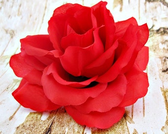 Rose hair clip, Rose hair accessory, Red rose clip, Flower hair clip, Fabric Hair Clip, Floral hair accessory, Wedding and prom, Flower