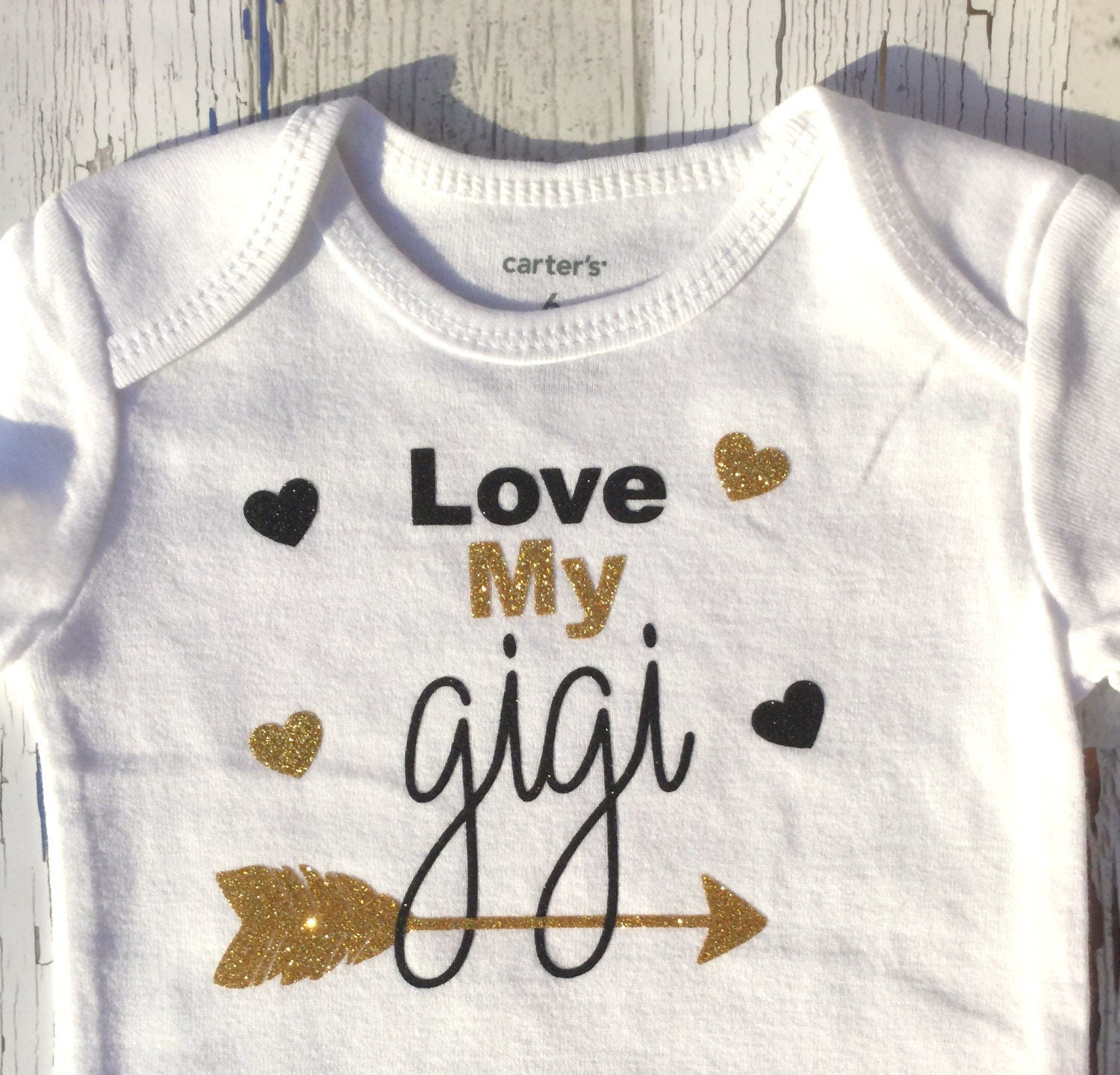 Grandpa Grandfather Gold and Black Baby Shower Gift Baby Girl