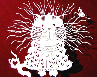 Template, Papercut Template, Papercutting Template, Frazzled, Papercutting, DIY Gift, Commercial, Personal, DIY, Cat Art, Silhouette