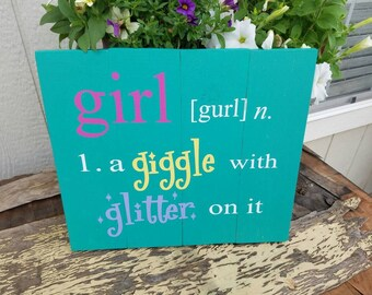 Girl - A Giggle with Glitter On It  - Handpainted Wall Hanging