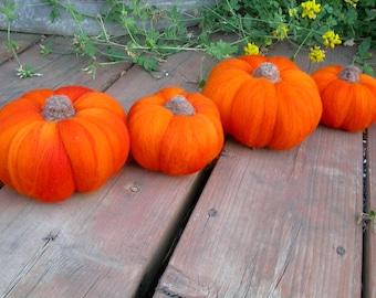 Set of Three Needle Felted Pumpkins