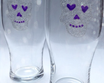 Set of 2 hand painted pint glasses with skull design