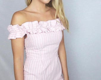 SALE! Candy Pink and White Striped Playsuit