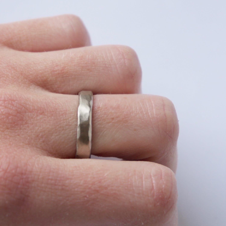 Two Organic White Gold Rings - 18 Carat Gold Molten Ring
