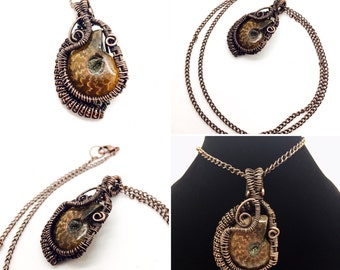 Copper Wire Wrapped Opalized Ammonite Necklace