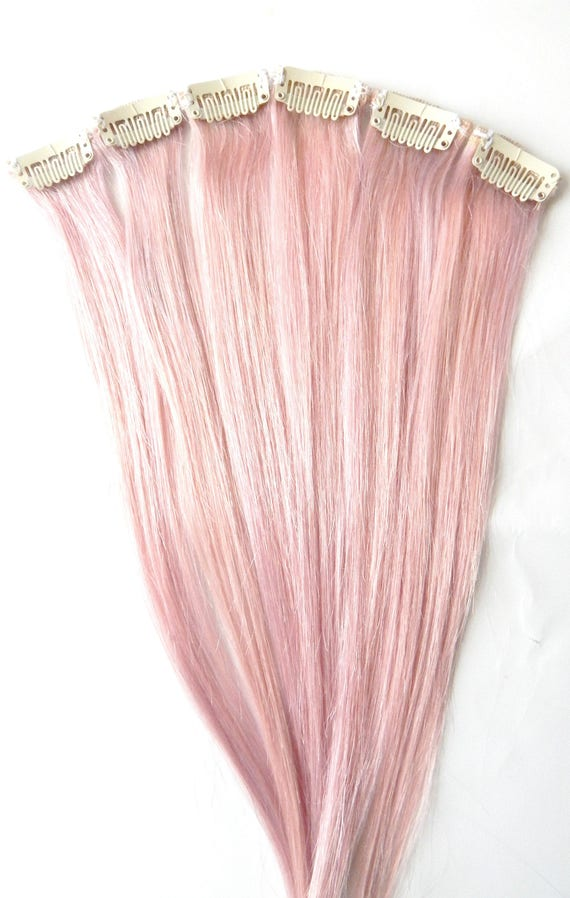 Pastel Pink Human Hair Extensions Clip In Hair Extensions