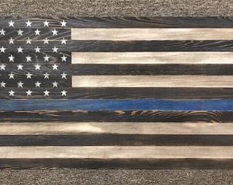 "Distressed Thin Blue Line American Flag 38""x20"", Wood Flag, Police Flag, Law Enforcement Flag"