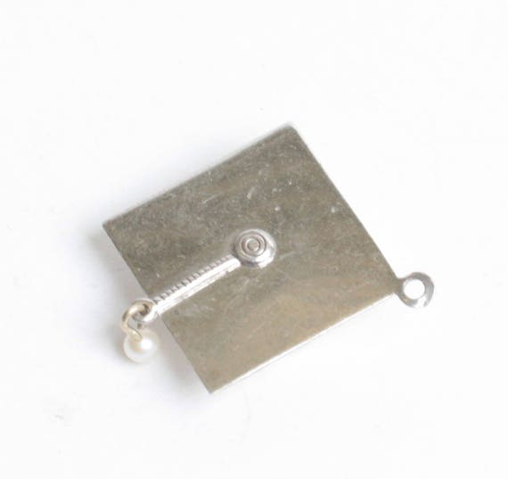 Sterling Graduation Mortarboard Charm with Pearl Dangle Vintage Charm for Bracelet