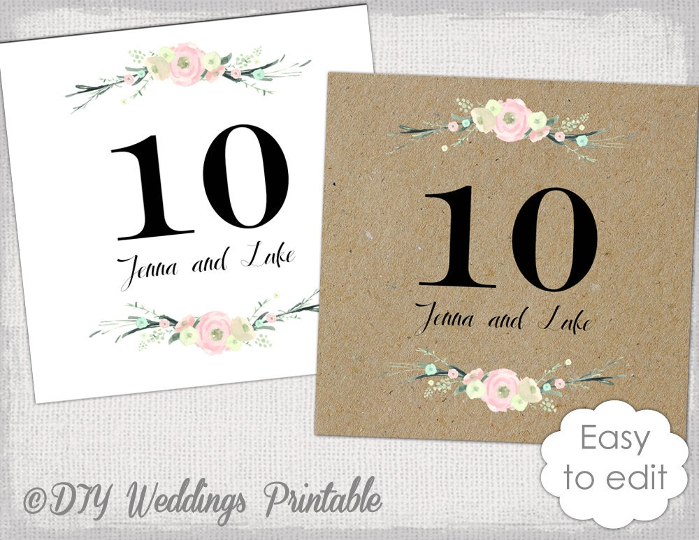 Rustic table numbers template Rustic Flowers