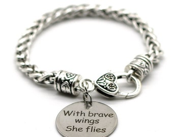 Antique Silver Tone Braid Inspiration Bracelet, With Brave Wings She Flies, Handmade in USA, SB41