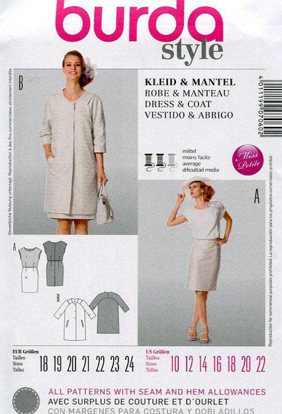 FREE US SHIP Burda 7060 Dress Coat Ensemble Drop Shoulder Sewing ...
