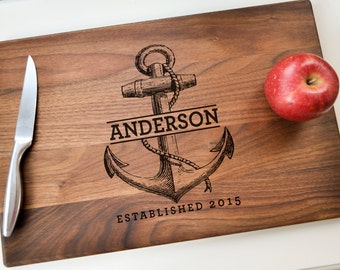 Personalized Cutting Board - Engraved Cutting Board, Custom Cutting Board, Wedding Gift, Housewarming Gift,  Christmas Gift, Nautical Gift