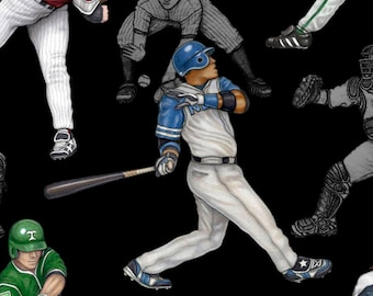Grand Slam from Quilting Treasures - Full or Half Yard Baseball Players on Black