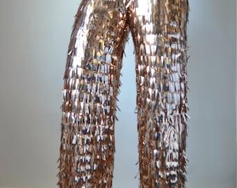 Sequin Fringe Wide Leg Pants