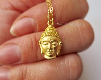 Shakyamuni Buddha Head Necklace - 24K Gold Plated Sterling Silver Vermeil Gautama Charm Auspicious Feng Shui Symbol - Insurance Included