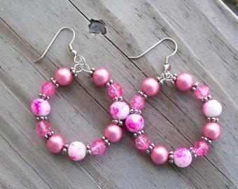 Pink and White Pearl Beaded Hoop Earrings