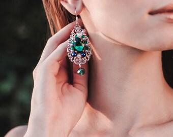 Baroque Emerald Crystals Filigree earrings handmade vintage long earrings Renaissance earrings earrings gift Green crystal earrings
