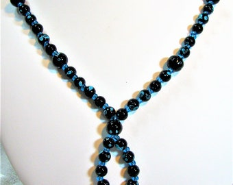 Black and Blue Speckled Beaded Necklace - Item 381 - On Sale 50% Off
