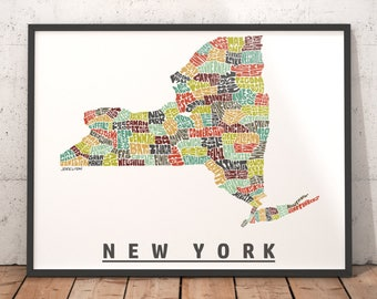 New York City Typography Map Print New York wall decor New