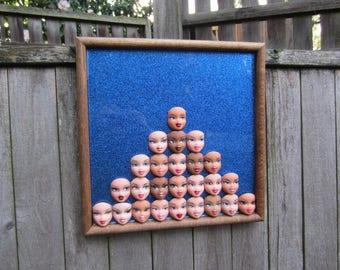 Bratz Pyramid - ucycled framed doll assemblage - wall art