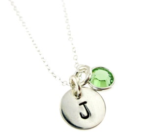 Initial Disc with Birthstone -Hand Stamped Jewelry By Hannah Design