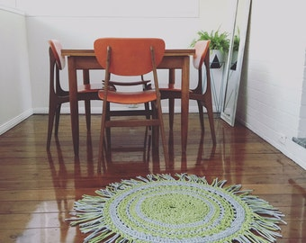 Custom t-shirt yarn crochet floor rug